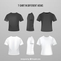 114b18aa5 Men's t-shirt in different views with realistic style Free Vector