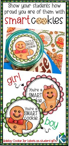 Show your students how proud you are of them with this holiday gift idea. These smart cookie jar labels are perfect for Christmas student gifts or when reading The Gingerbread Boy with your students. Student Christmas Gifts, Student Teacher Gifts, Teacher Birthday Gifts, Holiday Gifts, Christmas Holiday, Student Treats, Teacher Tips, Homemade Christmas, Christmas Ideas