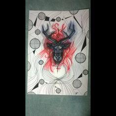 Veado cosmos - A3 - R$300,00 Aquarela - nanquim - caneta - posca - papel tela - arte - art
