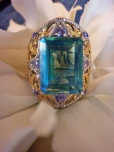 Peacock Quartz, Tanzanite 14K YG and Platinum Over Sterling Silver Ring Size (6) #Cocktail #AnniversaryBirthdayHolidayanytime