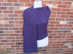 Grape Purple Homespun Wrap Prayer Shawl with Pocket or Not Hand Knit by PoppyLesti on Etsy