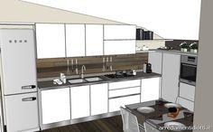 Cucina per mansarda bianca con gola S77 - DIOTTI A&F Arredamenti