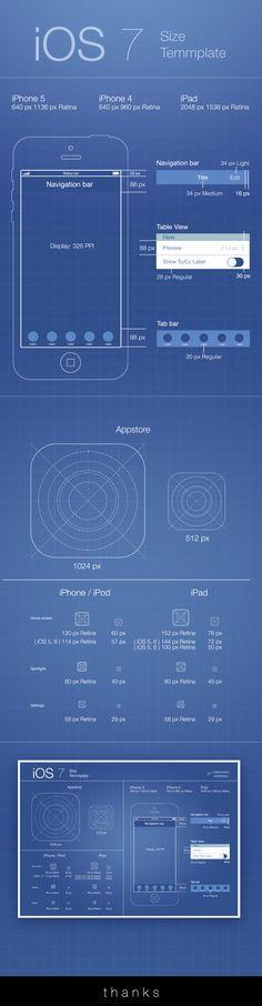iOS 7 Template by Temmasuk Dechawanitcha, via Behance