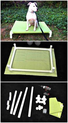 Diy pvc elevated dog bed tutorial - 9 diy dog bed ideas using pvc pipe - diy & crafts Pvc Dog Bed, Dog Bed Frame, Diy Doggie Beds, Cheap Dog Kennels, Diy Dog Kennel, Kennel Ideas, Chihuahua, Raised Dog Beds, Elevated Dog Bed