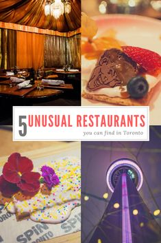 These are the most unusual and strange restaurants in Toronto. From a ping-pong lounge to a cosy dining on top of CN Tower, Toronto has it all. Toronto Vacation, Cool Restaurant, Restaurant Ideas, Tour Around The World, Toronto Life, Strange Places, Toronto Canada, Canada Travel, Places To Eat