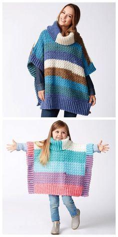 Free Knitting Patterns For Women, Poncho Knitting Patterns, Knitted Poncho, Crochet Patterns, Crochet Baby Hats, Crochet For Kids, Free Crochet, Girls Poncho, Poncho For Kids