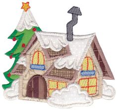 Christmas Village Applique 8 single machine embroidery design for instant download.