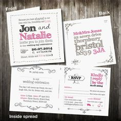 personalised wedding invitation with rsvp by violet pickles | notonthehighstreet.com