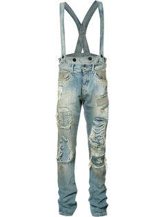 Shop Faith Connexion distressed dungaree jeans.