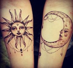 Sun and moon tattoo - The Moon has been the subject of visual arts, literature, poetry and countless others in the course of human history. Like many of counterparts in the nature – day and night, men and women, male and female, the moon is the natural counterpart to the sun, which is associated with female. Moon tattoos are one of prevailing tattoo ideas for women and we have seen many of amazing designs as feminine tattoos.