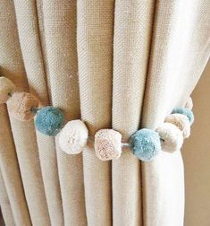 curtain tie backs etsy Pom Pom Curtains, Cute Curtains, Nursery Curtains, Curtain Tie Backs Diy, Curtain Ties, Curtain Accessories, Home Accessories, Diy 2019, Kids Decor
