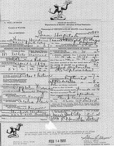 Copy of Houdini's Death Certificate