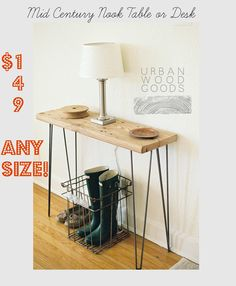 Mid Century Nook Desk or small side/console by UrbanWoodGoods, $149.00