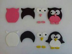 Buho y pinguino hechos de ceramica