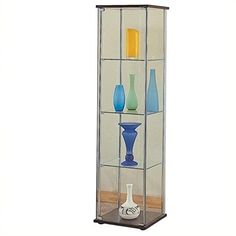 Bowery Hill 5 Shelf Glass Curio Cabinet in Cappuccino >>> Want additional info? Click on the image.
