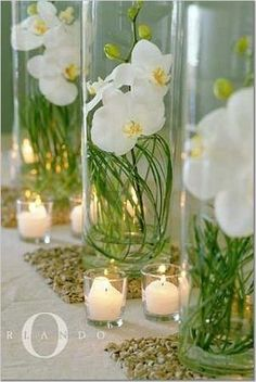 orchids lily grass and water centerpiece