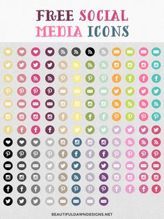 Free social media icons. Mix and match them to your liking. Over 100 social media icons!                                                                                                                                                                                 More