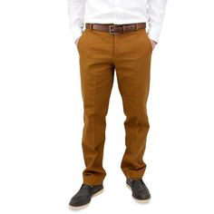 100% Carmel Cotton Duck Work Chinos - Taper Fit