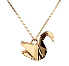 Womans Necklace-14k Gold Japanese Origami Swan Necklace Pendant – 1 Øak Swan Necklace, Cute Necklace, Onyx Necklace, Pendant Necklace, Origami Wolf, Origami Swan, Long Pearl Necklaces, Jewelry Necklaces, Diamond Necklaces