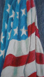 Oil Pastel flag. High school Introductory art project. Have students use a viewfinder to locate a good composition. Then use three values for each color.