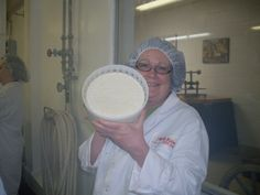 The Lady making cheese at Roth Kase in Wisconsin