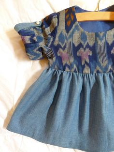 Ikat and Denim Swing Top