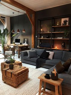 Home Living Room, Interior Design Living Room, Living Room Designs, Living Room Decor, Modern Interior, Apartment Living, Cosy Apartment, Ideas For Living Room, Home Office Bedroom