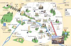 Paris top tourist attractions map Landmarks aerial birds eye view