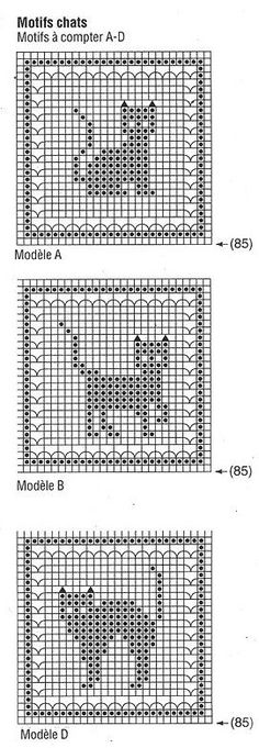 Animals and their free grids, crochet Cats Cross Stitching . - Animals and their free grids, crochet Cats Cross Stitching Freebie / Katzen Kreuzstich V - Knitting Charts, Knitting Stitches, Knitting Patterns, Crochet Patterns, Filet Crochet Charts, Embroidery Patterns, Gato Crochet, Crochet Amigurumi, Blog Crochet