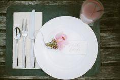 Romantic and rustic place setting Spring bouquet | Korie Lynn Photography and The Moss & Ross Floral Design | see more on: http://burnettsboards.com/2014/05/enchanting-spring-countryside-floral-design/ #orchid