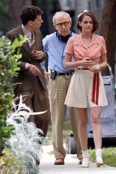 """Jesse Eisenberg, Kristen Stewart on the set of """"Café Society"""" (2016). Director: Woody Allen."""