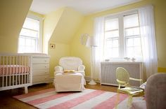 Thinking the girls room will be pink and yellow.  Love this yellow, Benjamin Moore Butter
