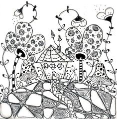 Image result for floral landscapes zentangle tangles