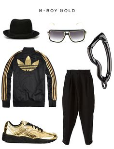 B-Boy Gold fashion set Clockwise: Pork pie hat by Neil Barrett, Sunglasses by Dita Eyewear, Arcus carabiner by SVORN, Trousers by Isabel Benenato, Sneakers by Puma x Vashtie, Track jacket by adidas
