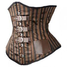Steampunk-Striped-Buckle-Steel-Corset-Size-L