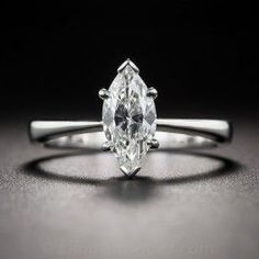 .90 Carat Marquise Diamond Solitaire Ring - Vintage Diamond Engagement Rings…
