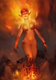 Fire Elemental, Lidia Macov on ArtStation at https://www.artstation.com/artwork/o099J