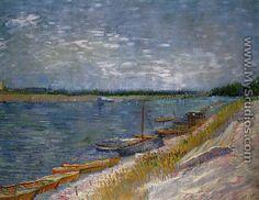 Vista de un río con los barcos de Rowing - Vincent Van Gogh