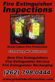 Fire Extinguisher Inspections Chaseburg, WI (262) 798-0444 Discover the Complete Source for Fire Protection Equipment and Service.. We're Great Lakes Fire Protection!! Call us Today!