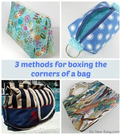 Sew A Bag 3 different way how to box the corners on a bag. One of these I hadn't seen before. - 3 different methods for boxing corners on bags. Includes a video so you can see exactly how to do it. Boxing corners on bags is easy when you know how Sewing Hacks, Sewing Tutorials, Sewing Patterns, Sewing Tips, Bag Tutorials, Bag Patterns, Sewing Leather, Fabric Bags, Sew Bags