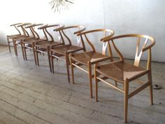 7 Hans Wegner Danish Modern Dining Chairs , Y Chairs - Authentic Vintage, $7000