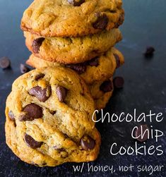 DIABETIC chocolate chip cookies made with honey and applesauce, not sugar or artificial sweeteners (except the teeny amount in the chocolate chips)!  #diabeticdesserts #withoutbrownsugar #chocolatechipcookies #healthycookies #easychocolatechipcookiesrecipe Healthy Peanut Butter Cookie Recipe, Healthy Chocolate Chip Cookies, Butter Cookies Recipe, Chip Cookie Recipe, Easy Cookie Recipes, Healthy Cookies, Diabetic Chocolate, Brownie Cookies, Chocolate Chips
