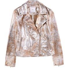 Metallic Leather Jacket ($185) ❤ liked on Polyvore featuring outerwear, jackets, 100 leather jacket, embellished leather jacket, lapel jacket, real leather jackets and embellished jacket