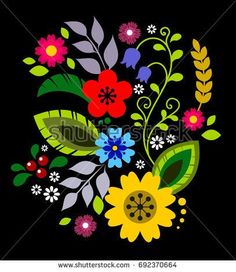 Polish Folk Decorative Element Vector Wektorowa ilustracja s Hungarian Embroidery, Folk Embroidery, Vintage Embroidery, Embroidery Patterns, Folk Art Flowers, Flower Art, Polish Folk Art, Lazy Daisy Stitch, Scandinavian Folk Art