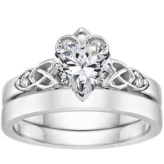 18K White Gold Celtic Claddagh Ring from Brilliant Earth but with a Princess Cut <3