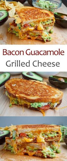 Guacamole Grilled Cheese Sandwich- this grown up grilled cheese combines all the things we all love: bacon, cheese and guac!Bacon Guacamole Grilled Cheese Sandwich- this grown up grilled cheese combines all the things we all love: bacon, cheese and guac! I Love Food, Good Food, Yummy Food, Fingers Food, Cooking Recipes, Healthy Recipes, Avocado Recipes, Grilled Recipes, Burger Recipes