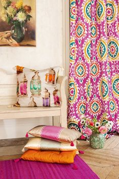 Home Sweet Home: Accent PINK! - Pink is the happiest color-- today home, art and interior inspiration. The Candy room by Iggi Interior Design at the Holiday House London. Gaston Y Daniela, Moroccan Lanterns, Hall Design, Textiles, Curtain Fabric, Bohemian Decor, Decoration, Upholstery, Sweet Home