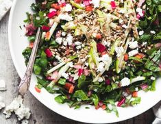 This Rainbow Chard Salad is a deliciously smart way to use a vibrant underutilized veggie. This healthy superfood salad is as pretty as it is delicious! Paleo Fruit, Breakfast Cake, Yogurt Breakfast, Paleo Breakfast, Rainbow Chard, Superfood Salad, Lemon Yogurt, Vidalia Onions, Super Greens