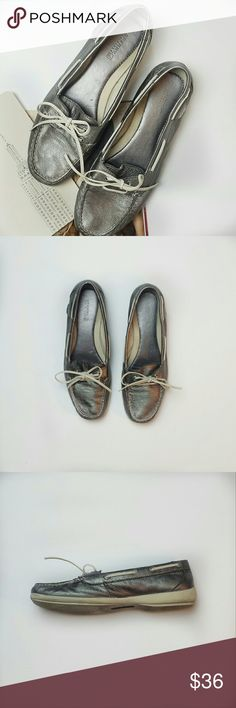 Sperry Audrey Top-Sider Silver with Leather Upper Adorable silver Sperry's are ready for your next brunch on the beach paired with a fun white summer dress! Sperry Top-Sider Shoes Flats & Loafers