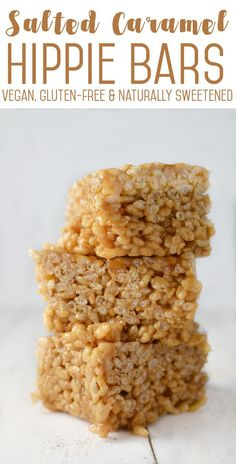 Salted Caramel Hippie Bars! A vegan, gluten-free and naturally sweetened rice crispie treat! You HAVE to try these, perfect for adults and kids! | http://www.delishknowledge.com
